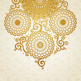 Golden pattern with large flowers and curls. Royalty Free Stock Photography
