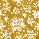 Golden pattern seamless backgrounds with white snowflakes. Vector stock illustration