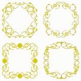 Golden patterned frame. On white background Stock Images
