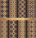 Golden Patterns Forged Vintage Design. Luxury seamless patterns collection. Golden vintage design elements. Elegant weave ornament for wallpaper, fabric, paper Royalty Free Stock Image