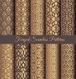 Golden Patterns Forged Vintage Design. Luxury seamless patterns collection. Golden vintage design elements. Elegant weave ornament for wallpaper, fabric, paper Stock Image