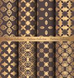 Golden Patterns Forged Vintage Design. Luxury seamless patterns collection. Golden vintage design elements. Elegant weave ornament for wallpaper, fabric, paper Royalty Free Stock Photos