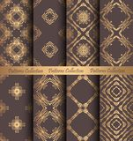 Golden Patterns Forged Vintage Design. Luxury seamless patterns collection. Golden vintage design elements. Elegant weave ornament for wallpaper, fabric, paper Royalty Free Stock Photography