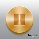 Golden pause button. Round stop button with brushed golden metal texture isolated on gray background Stock Photography