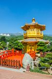 Golden Pavilion of absolute perfection in Nan Lian Garden in Chi. Lin Nunnery, Hong Kong Royalty Free Stock Image