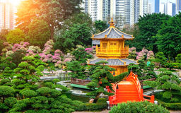 The Golden Pavilion of absolute perfection in Nan Lian Garden in Chi Lin Nunnery. The Golden Pavilion of absolute perfection in Nan Lian Garden in Chi Lin Stock Images