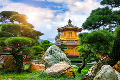 The Golden Pavilion of absolute perfection in Nan Lian Garden in Chi Lin Nunnery. Stock Photos