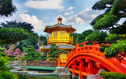 The Golden Pavilion of absolute perfection in Nan Lian Garden in Chi Lin Nunnery. Royalty Free Stock Photo