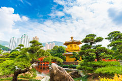 Golden Pavilion of Absolute Perfection in the Nan Lian Garden wi Royalty Free Stock Photography