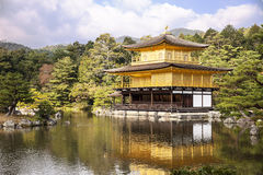 Golden Pavilion Across Pond Royalty Free Stock Photo
