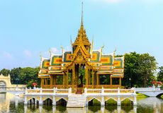 Golden Pavilion, Bang Pa-In Palace in Ayuthaya, Thailand. Stock Photos