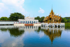 Golden Pavilion, Bang Pa-In Palace in Ayutthaya, Thailand. Royalty Free Stock Photos