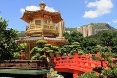 Golden pavilion of Chi Lin Nunnery, Hong Kong. Oriental golden pavilion of Chi Lin Nunnery and Chinese garden, landmark in Hong Kong stock photo