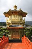 Golden pavilion in chinese garden Royalty Free Stock Image