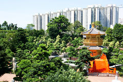 Golden pavilion in Hongkong Stock Images