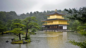 Golden Pavilion Kyoto. Kinkakuji (Golden Pavilion) is a Zen temple in northern Kyoto, photo taken in the rain stock photography