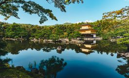 The Golden Pavilion in Kyoto, Japan. Kinkakuji Temple of the Emp Stock Photos