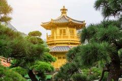Golden Pavilion in Nan Lian Garden. Hong Kong Royalty Free Stock Images