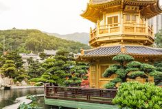 Golden Pavilion in Nan Lian Garden. Hong Kong Royalty Free Stock Photo