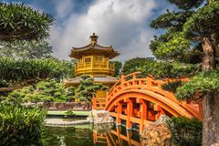 The golden pavilion in Nan Lian Garden, Hong Kong. Royalty Free Stock Photography
