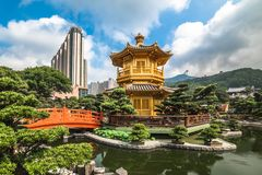 The golden pavilion in Nan Lian Garden, Hong Kong. royalty free stock image