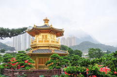 Golden Pavilion of Nan Lian Garden, Hong Kong Stock Images