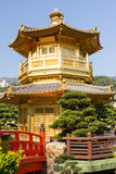 Golden Pavilion. The golden oriental pavilion in Chi Lin Nunnery, Hong Kong Stock Photo
