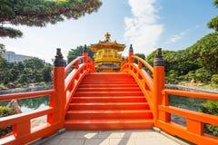 Golden Pavilion of Perfection in Nan Lian Garden, Hong Kong Stock Photos