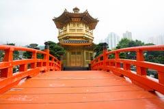 The Golden pavilion and red bridge in Nan Lian Garden near Chi Lin Nunnery, Hong Kong Stock Images