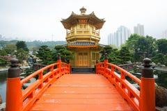 The Golden pavilion and red bridge in Nan Lian Garden near Chi Lin Nunnery, Hong Kong Stock Photos
