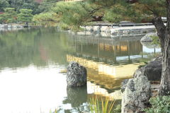 Golden pavilion reflection Stock Image