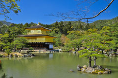 Golden Pavillion in Kyoto Japan. Golden pavillion on the water in Kinkakuji Temple Japan Royalty Free Stock Images