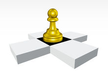Golden Pawn chessboard. Golden Pawn standing still on black check surrounded by white checks Stock Photos