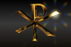 Golden Pax Christi Symbol with nice lensflare Royalty Free Stock Images