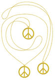 Golden Peace pendant isolated necklace Stock Image