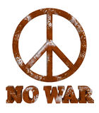 Rust peace sign no war isolated. Rustic peace symbol. NO WAR word with rusty textures. Danger of conflicts. Forgotten peace. PNG with transparent background Royalty Free Stock Photo