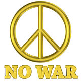 Golden peace sign no war Stock Photo