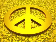 Golden peace symbol 01. 3D peace symbol on golden texture royalty free illustration