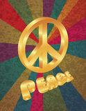 Golden Peace Symbol on Rays Background Stock Photo