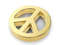 Golden peace symbol Stock Photography