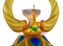 Golden Peakock statue in dinning room of Dhammakaya Meditation C Stock Photos