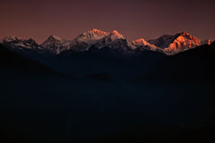 Golden peaks of Kanchenjunga Royalty Free Stock Photo