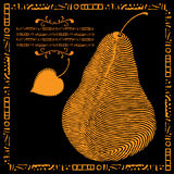 Golden pear illustration Stock Images