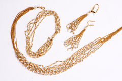 Golden Pearl Necklace Stock Photo