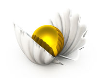Golden pearl in a shell Royalty Free Stock Photography