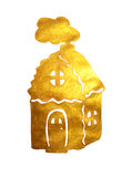 Golden pearly hand-drawn house  on white background Stock Photos