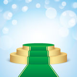 Golden pedestal with green carpet. Royalty Free Stock Photos