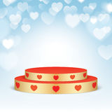 Golden pedestal with red hearts. Royalty Free Stock Photos