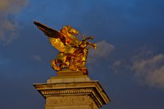 Golden pegasus on Pont Alexandre III bridge in PAris; France royalty free stock photography
