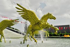 The golden pegasus statue in Istanbul royalty free stock photography